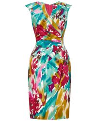 Adrianna Papell Multicolor Plus Size Printed Dress