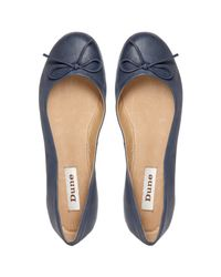 Dune Blue Muswell Leather Bow Trim Ballerina Pumps