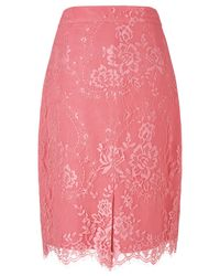 L.K.Bennett Pink Essie Lace Pencil Skirt
