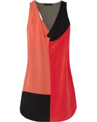 Alexander Wang | Multicolor Color-block Silk Crepe De Chine Dress | Lyst