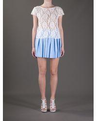 Alice + Olivia White Lace T-shirt