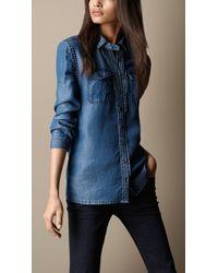 Burberry - Blue Twotone Denim Shirt - Lyst
