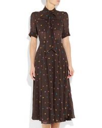 Marc By Marc Jacobs Brown Galena Embroidered Silk-chiffon Dress