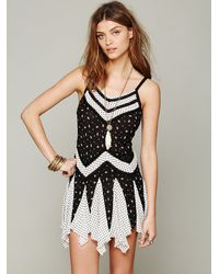 Free People White In and Out Ditsy Florals Slip