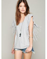 Free People | Gray Fantasy Fringe Tee | Lyst