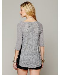Free People - Gray We The Free Mix Up Hacci Tee - Lyst