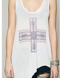 Free People White We The Free Waterfall Graphic Tank