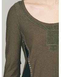 Free People Green Along The Fringe Top