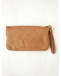 Free People Brown Womens Distressed Leather Wallet