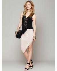 Bella Luxx Natural Jersey Asymmetrical Drape Skirt