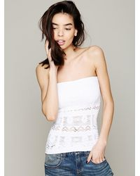 Free People White Floral Cutout Tube