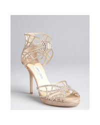 Jimmy Choo - Metallic Taupe Shimmer Suede Crystal Embellished Cutout Dina Sandals - Lyst