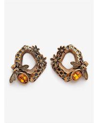 Alexander McQueen Yellow Hexagon Bee Skull Earrings