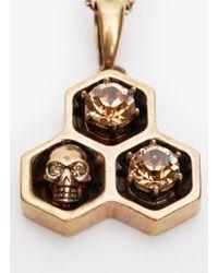 Alexander McQueen - Metallic Hexagon Skull Pendant - Lyst
