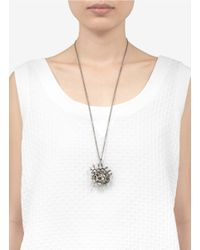 Alexander McQueen - Metallic Honeycomb Skull Pendant Necklace - Lyst