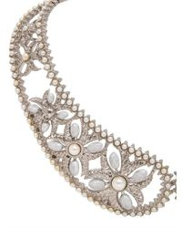 Alexander McQueen - Metallic Pearl Brass Collar Necklace - Lyst