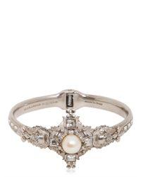 Alexander McQueen - Metallic Pearl Swarovski Cross Bracelet - Lyst