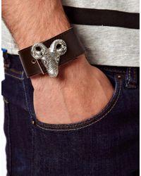 ASOS - Brown Leather Bracelet with Metal Skull for Men - Lyst