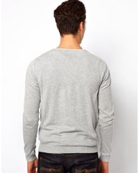 Fred Perry Gray Scoop Neck Sweater for men