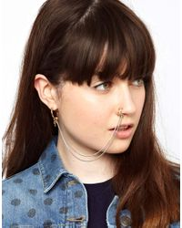 ASOS Multicolor Nose Ring Linked Cross Earring