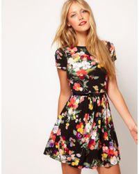 ASOS Black Skater Dress in Large Floral Print