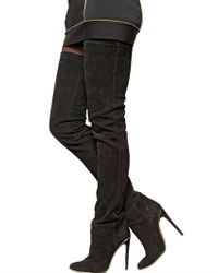 Balmain Black Cuissard Stretch Suede Boots