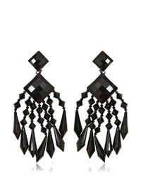 Balmain | Black Crystal Drop Earrings | Lyst