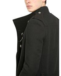 Balmain Black Heavy Wool Cotton Canvas Military Coat for men