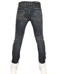 Balmain Blue 17cm Basic Stretch Denim Biker Jeans for men