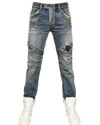 Balmain Blue 18cm Destroyed Denim Biker Jeans for men