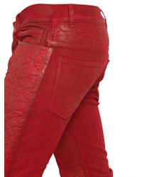Balmain Red 17cm Reptile Quilted Stretch Denim Jeans for men