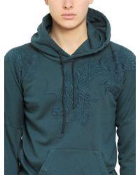 Balmain - Blue Hooded Raised Dragon Fleece Sweatshirt for Men - Lyst