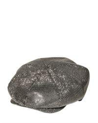 Borsalino Metallic Svarowski On Wool Blend Cloth Flat Cap for men