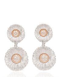 Buccellati - White Diamond Daisy Pendant Earrings - Lyst