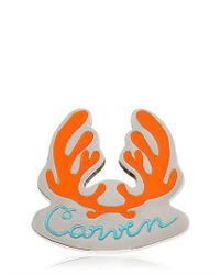 Carven Orange Antlers Logo Metal Pin