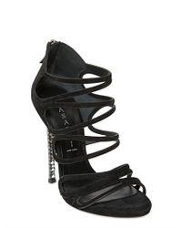 Casadei Black 100mm Swarovski Suede Cage Sandals