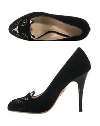 Charlotte Olympia Black Kitty Embroidered Shoes