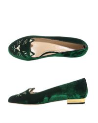 Charlotte Olympia Green Velvet Kitty Slippers