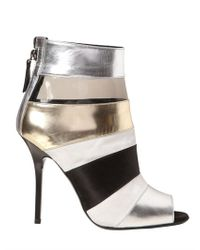Diego Dolcini Metallic 110mm Calfskin Satin and Plexi Boots