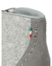 Diemme Gray New Tirol Wing Felt Suede Brogue Boots for men