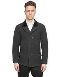Dolce & Gabbana Gray Woven Wool Peacoat for men