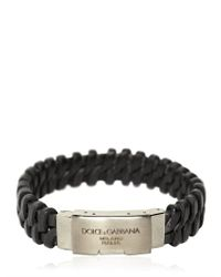 Dolce & Gabbana | Black Woven Leather Plaque Bracelet for Men | Lyst