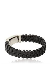 Dolce & Gabbana | Black Woven Leather Plaque Bracelet for Men | Lyst