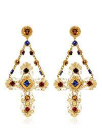 Dolce & Gabbana Metallic Cross Clip Earrings