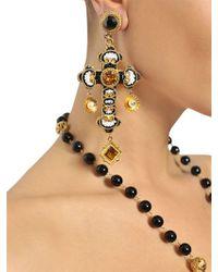 Dolce & Gabbana Metallic Medium Cross Drop Earrings