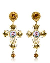 Dolce & Gabbana Metallic Small Cross Drop Earrings