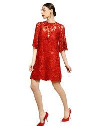 Dolce & Gabbana Red Macramè Lace Dress