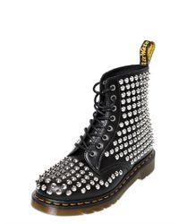 Dr. Martens Black Studded Matte Leather Boots for men