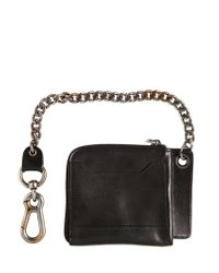 DSquared² Black Chained Leather Zip Around Wallet for men
