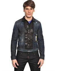 DSquared² Blue Leather Front Denim Jacket for men